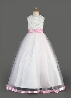 A-Line/Princess Scoop Neck Floor-Length Organza Charmeuse Flower Girl Dress With Sash Beading Sequins (010014638)