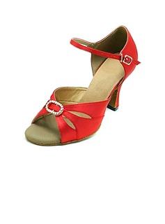 De mujer Satén Tacones Sandalias Danza latina Sala de Baile con Rhinestone Zapatos de danza
