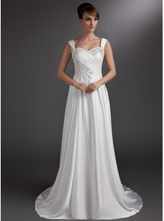 A-Line/Princess Sweetheart Court Train Charmeuse Wedding Dress With Ruffle Lace Beadwork (002016735)
