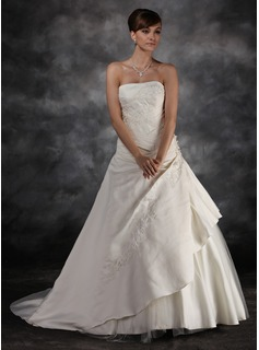 Ball-Gown Strapless Court Train Tulle Charmeuse Wedding Dress With Ruffle Lace Beadwork (002016944)