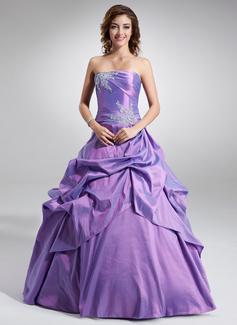 Corte de baile Estrapless Vestido Tafetán Vestido de quinceañera con Volantes Bordado Los appliques Lentejuelas