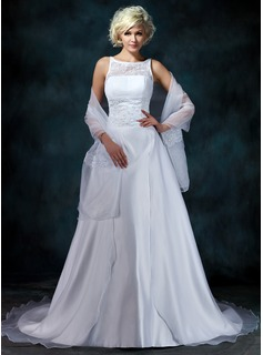 A-Line/Princess Scoop Neck Court Train Organza Satin Wedding Dress With Lace Beadwork (002000104)