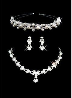 Ivory Pearl Two Piece Elegant Drop Ladies Necklace and Earrings Jewelry Set (011006981)