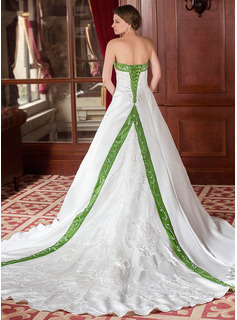 A-Line/Princess Strapless Cathedral Train Satin Wedding Dress With Embroidery Sashes Beadwork (002000040)