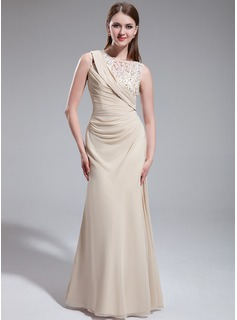 Sheath Scoop Neck Floor-Length Chiffon Tulle Prom Dress With Ruffle Beading Flower(s) (018022747)