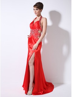 Sheath Sweetheart Watteau Train Charmeuse Evening Dress With Ruffle Beading (017026003)