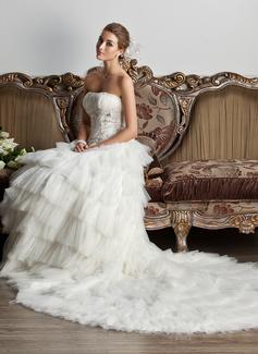 Corte de baile Estrapless Cola capilla Satén Tul Vestido de novia con Volantes Encaje Bordado Lentejuelas