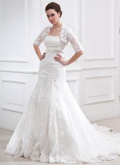 Corte A/Princesa Estrapless Cola capilla Satén Tul Vestido de novia con Encaje Bordado Lazo(s)