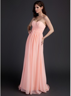 Empire Sweetheart Sweep Train Chiffon Maternity Bridesmaid Dresses With Ruffle (045022489)