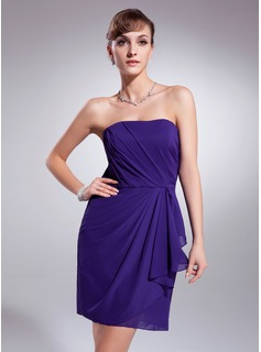 Sheath Strapless Short/Mini Chiffon Homecoming Dress With Ruffle (022010569)