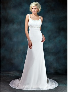 Empire Scoop Neck Court Train Chiffon Wedding Dress With Ruffle Beadwork (002001673)