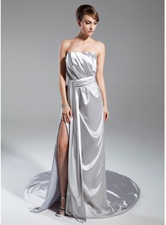 A-Line/Princess Strapless Chapel Train Charmeuse Mother of the Bride Dress With Ruffle (008015394)