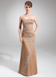 Etui-Linie Herzausschnitt Sweep/Pinsel zug Satin Kleid für die Brautmutter mit Spitze Perlen verziert
