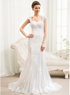 Trumpet/Mermaid Sweetheart Court Train Tulle Lace Wedding Dress With Beading Sequins
