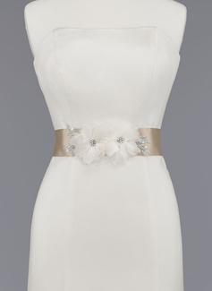 Nizza Satin/Organza Schleifenbänder/Stoffgürtel mit Perlstickerei/Blume