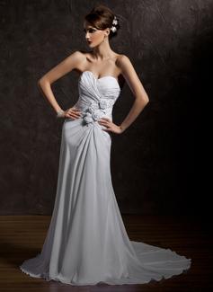 Corte A/Princesa Escote corazón Cola corte Chifón Vestido de novia con Volantes Bordado Flores