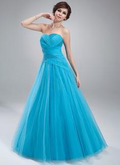 Duchesse-Linie Herzausschnitt Bodenlang Tüll Quinceañera Kleid