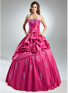 Ball-Gown Strapless Floor-Length Taffeta Quinceanera Dress With Ruffle Lace Beading Flower(s) (021015574)
