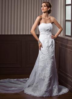Corte imperial Escote corazón Cola watteau Satén Tul Vestido de novia con Volantes Bordado Los appliques Encaje