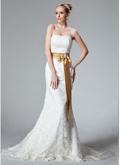 Trompete/Sereia Sem Alças Cauda de sereia Renda Vestido de noiva com Cintos Bordado Curvado