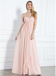 Empire Sweetheart Floor-Length Chiffon Evening Dress With Ruffle (017004359)