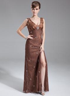 Vestidos princesa/ Formato A Decote V Longos Renda Vestido para a mãe da noiva com Bordado Lantejoulas Frente aberta
