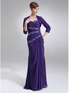 Sheath Sweetheart Floor-Length Chiffon Mother of the Bride Dress With Ruffle Beading Sequins (008006030)