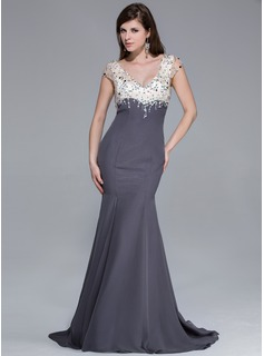 Trumpet/Mermaid V-neck Sweep Train Chiffon Charmeuse Prom Dress With Beading Split Front