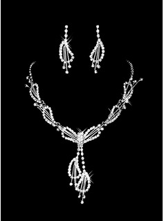Beautiful Czech Rhinestones With Alloy Plated Wedding Jewelry Set,Including Necklace And Earrings (011006980)