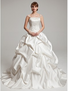 Ball-Gown Strapless Court Train Tulle Charmeuse Wedding Dress With Ruffle Beadwork (002017555)