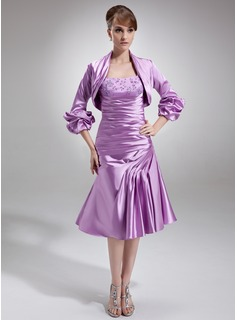 A-Line/Princess Knee-Length Charmeuse Mother of the Bride Dress With Ruffle Lace Beading (008005689)