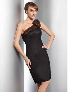 Sheath One-Shoulder Knee-Length Satin Cocktail Dress With Beading (016014754)
