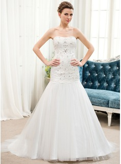 Trumpet/Mermaid Sweetheart Sweep Train Satin Tulle Lace Wedding Dress With Beading Sequins