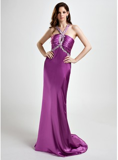 Sheath/Column V-neck Sweep Train Charmeuse Evening Dress With Ruffle Lace Beading Sequins