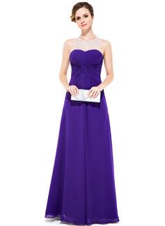 Sheath/Column Scoop Neck Floor-Length Chiffon Tulle Evening Dress With Ruffle Beading Sequins