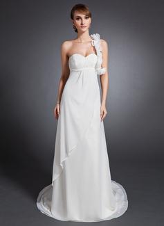 Corte imperial Un sólo hombro Cola corte Chifón Vestido de novia con Volantes Bordado Flores