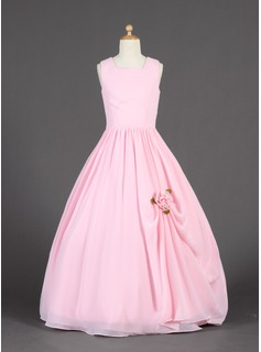 A-Line/Princess Scoop Neck Floor-Length Chiffon Flower Girl Dress With Ruffle Flower(s)