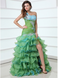 Trumpet/Mermaid One-Shoulder Floor-Length Organza Satin Prom Dress With Beading Appliques Split Front Cascading Ruffles