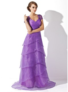 A-Line/Princess V-neck Sweep Train Organza Charmeuse Lace Mother of the Bride Dress With Ruffle Beading