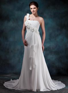 Corte A/Princesa Escote corazón Un sólo hombro Cola corte Chifón Vestido de novia con Flores Cascada de volantes