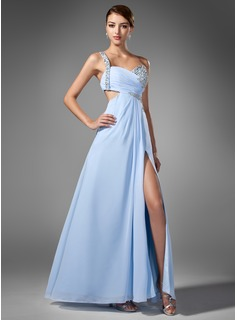 A-Line/Princess One-Shoulder Floor-Length Chiffon Prom Dress With Ruffle Beading Sequins (018005108)