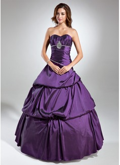 Duchesse-Linie Herzausschnitt Bodenlang Taft Quinceañera Kleid (Kleid für die Geburtstagsfeier) mit Rüschen Perlen verziert