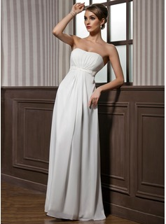 Empire Strapless Floor-Length Chiffon Charmeuse Bridesmaid Dress With Ruffle Beading (007001846)