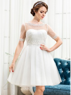 A-Line/Princess Scoop Neck Knee-Length Tulle Wedding Dress With Lace Beading Sequins