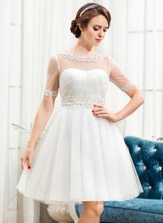 Corte A/Princesa Escote redondo Hasta la rodilla Tul Vestido de novia con Encaje Bordado Lentejuelas