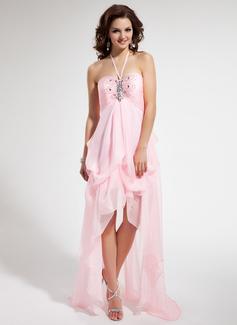 Empire Halter Asymmetrical Chiffon Prom Dress With Ruffle Beading
