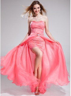 A-Line/Princess Sweetheart Asymmetrical Detachable Organza Tulle Charmeuse Prom Dress With Lace Beading Sequins