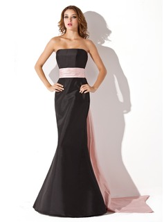 Mermaid Strapless Floor-Length Taffeta Bridesmaid Dress With Sash (007004268)