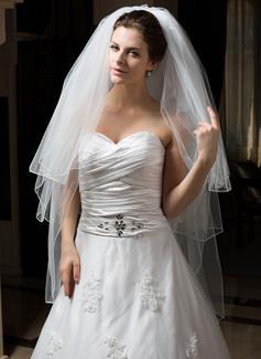 Tres capas Yema del dedo velos de novia con Lápiz