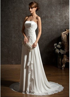 Corte A/Princesa Escote corazón Barrer de tren Chifón Charmeuse Vestido de novia con Encaje Bordado Lentejuelas Cascada de volantes